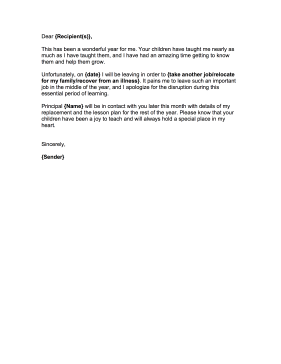 Write a farewell letter to staff at a school