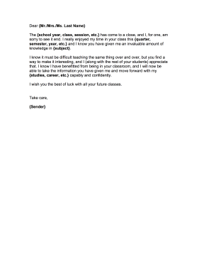 Teacher Letter To Parents End Of Year